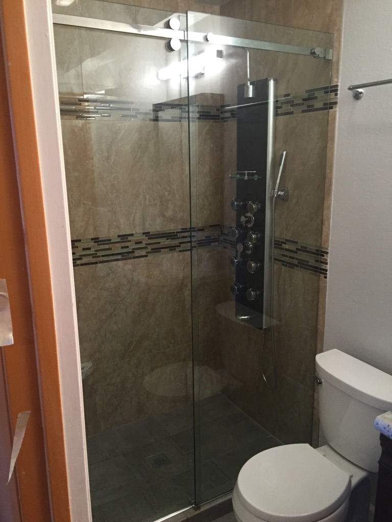 Non glass shower doors perfect photos may reflect for Non see through glass for bathrooms